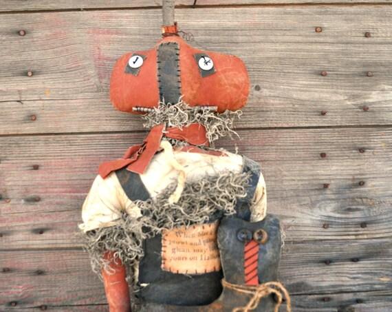 SALE! Primitive Large Pumpkin Scarecrow & Cat