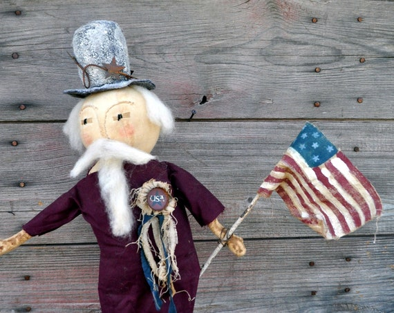 SALE! Primitive Uncle Sam With Red Coat & Flag