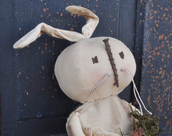 Sale! Primitive Old White Bunny with Carrots