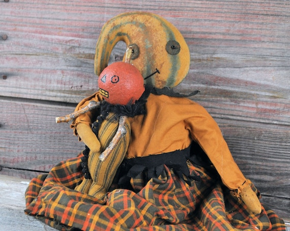 NEW! Primitive Gourd Doll With Pumpkin Guy