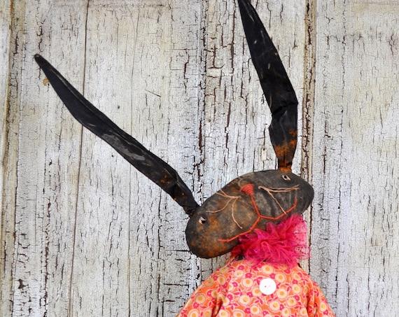 Primitive Black Bunny with Easter basket