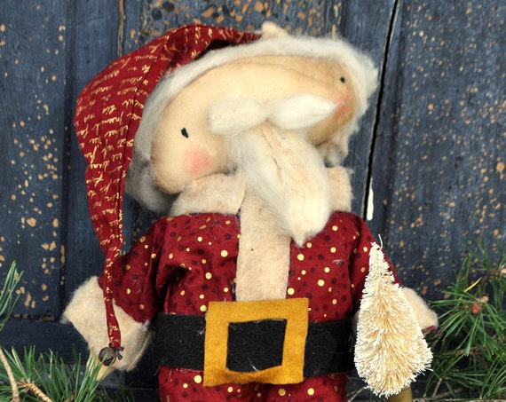 Primitive Standing Santa with Sisal Tree