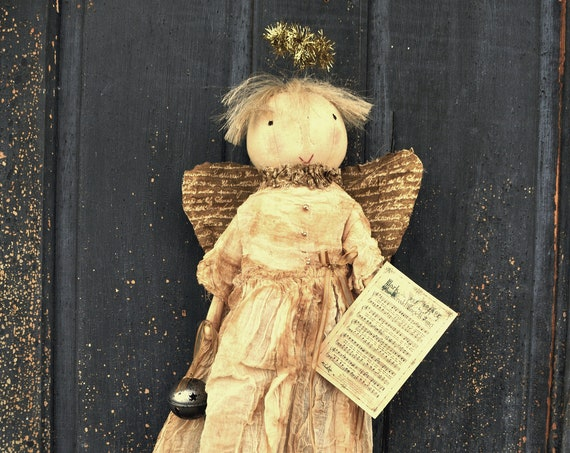 Primitive Christmas Angel with Bells