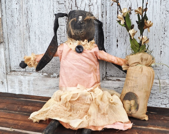 Primitive Black Bunny with Flowers