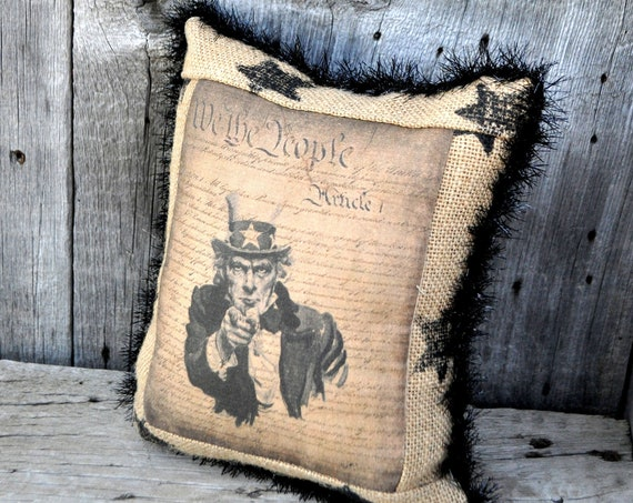 SALE! Primitive Uncle Sam Pillow