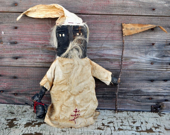 SALE! Primitive Black Santa With Teddy Bear