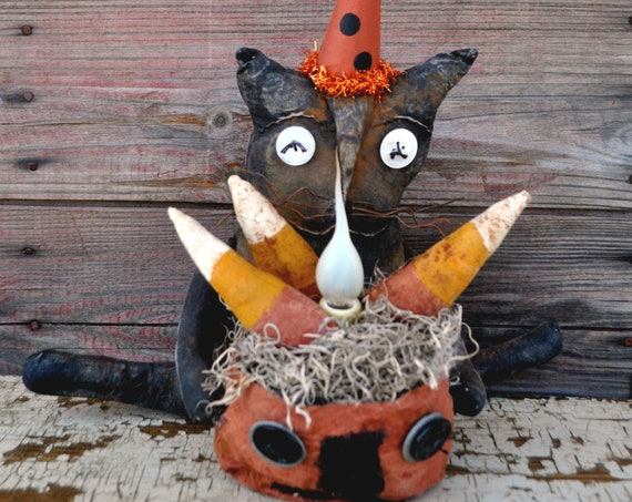 SALE! Primitive Cat with Pumpkin & Lamp