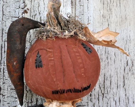 SALE! Primitive Pumpkin & Crow Door Hanger