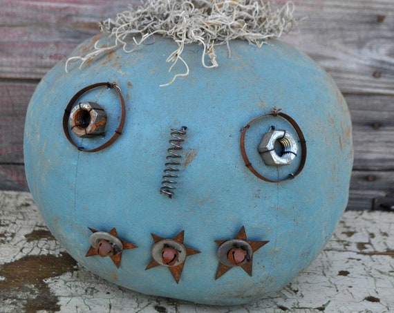 Prim One-of-a-kind Aqua Blue Jack-O-Lantern