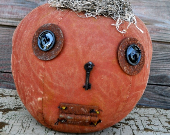 Prim One-of-a-kind Orange Jack-O-Lantern