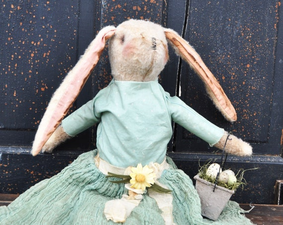 Primitive White Plush Felt Bunny with Basket