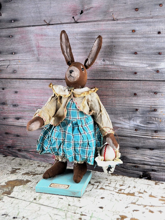 Limited Edition Primitive Standing Brown Bunny with Basket