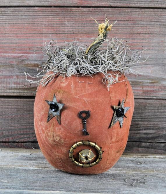 Prim One-of-a-kind Orange Jack-O-Lantern