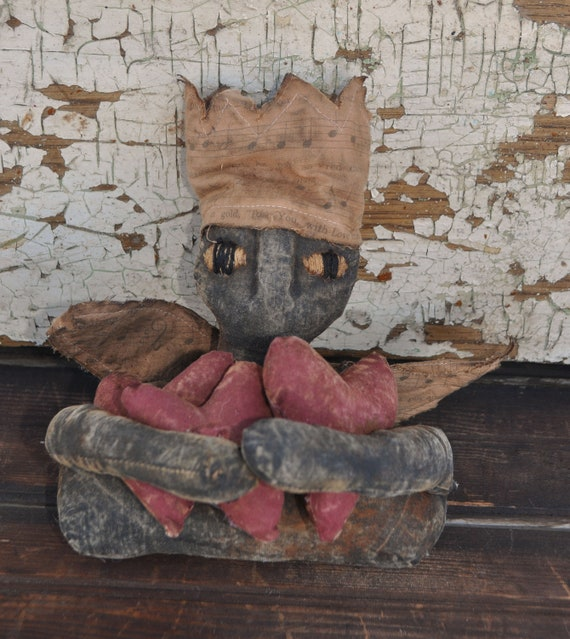 Primitive Valentine Doll with Hearts