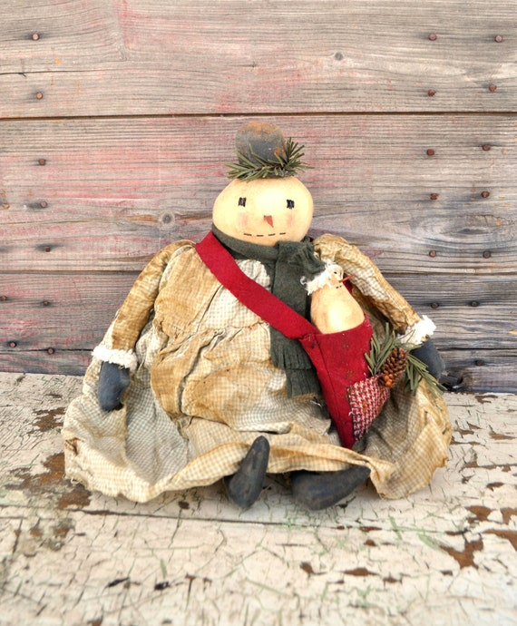 SALE! Primitive Snowgirl with Small Snowman in Bag