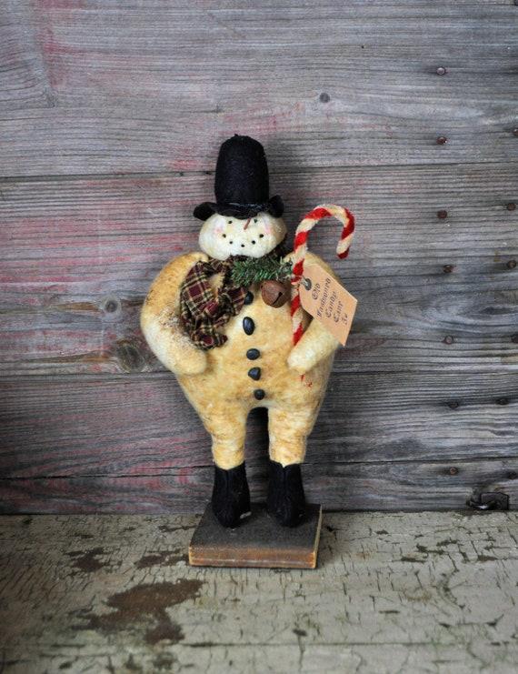 SALE! Primitive Snowman With Candy Cane