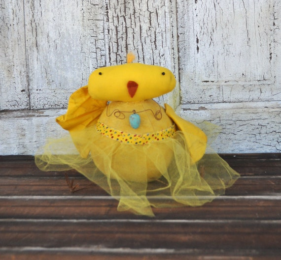 Primitive Yellow Chick with Egg Necklace