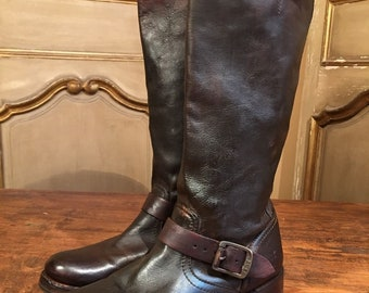 91cae534257 Vintage Frye Women's Veronica Campus Side Buckle Riding TALL Brown Boots  Size 10 B Movie Set Retired