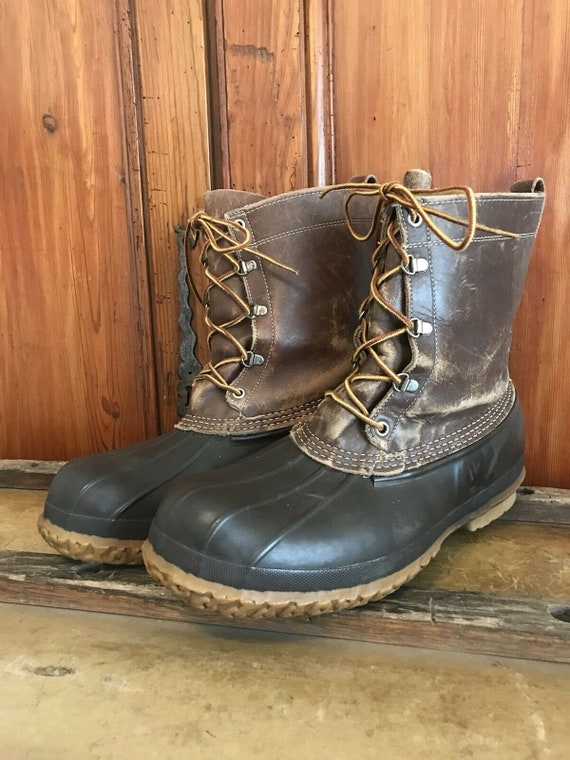 Vintage L.L BEAN Maine Hunting Boots Mens Size 12 Brown Old Stock