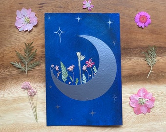 Crescent Moon in Bloom with Real Flowers