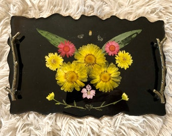 Real Pressed Flowers Floral Tray with Twig Handles and Real Gold Border