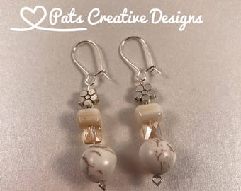 White Square and Round Beaded Earrings with a Citrine Swarovski Crystal and Silver Flower