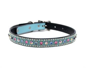 Turquoise Dog Collar Crystal Dog Collar Woof Wear Jumbo Turquoise Leather Dog Collar Studded Dog Collar Personalized Dog Collar