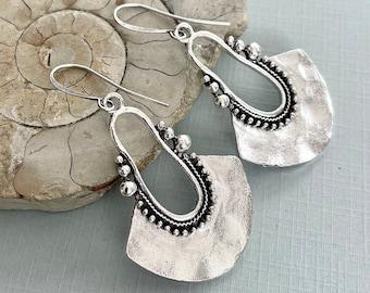 Circle Dangle Earrings Silver Boho Earrings Silver Statement Earrings Large Disc Earrings Hammered Earrings Drop Earrings Boho Jewelry