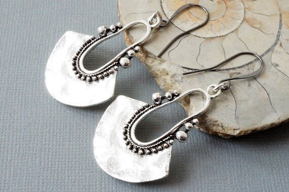 round silver shield earrings ethnic style earrings Tribal style silver earrings with choice of ear wires embossed coin charm earrings