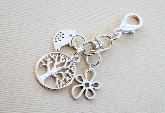 Tree of life bird and flower clip on charm nature themed  c7cfc60359a05