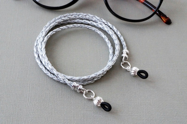 spectacle holder Silver braided faux leather cord glasses chain silver PU artificial leather vegan sunglasses cord glasses accessory