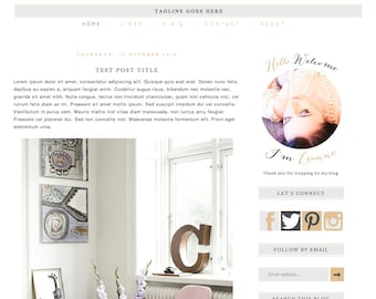 """Blogger Template Blog Theme """"Pretty Things"""" // Simple Blog Template // Nude & Charcoal // Pre-made Blog // Blogspot // Premade Blog Design"""