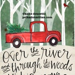 Over the River and Through the Woods to Michigan We Go Red Christmas Truck Art by Katie Doucette