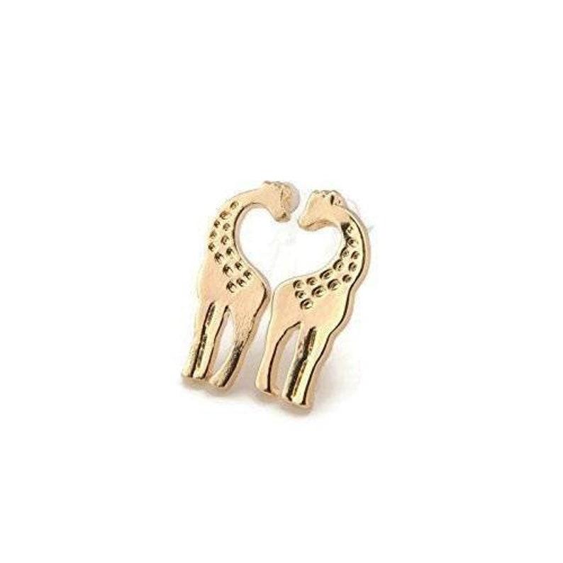 Girls Kids Ear Clips Non-Pierced Ears Clip On Giraffe Earrings Animal Earrings Gold-Tone Looks Like Pierced Tween Invisible Slip On