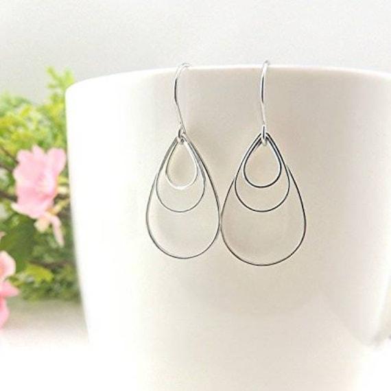 Stainless Steel Polished Hollow Teardrop Dangle Earrings