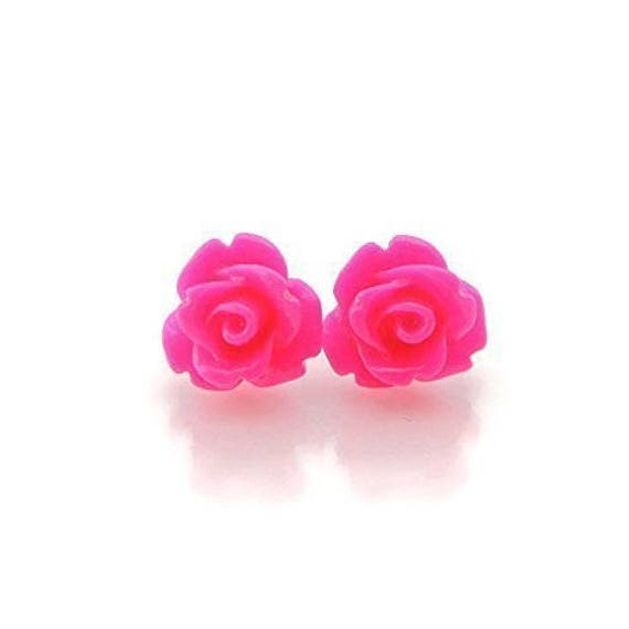 Plastic Post 9mm Rose Earrings For Metal Sensitive Ears Or Etsy