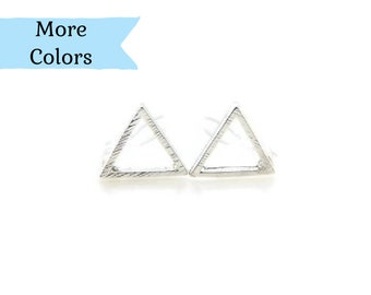 Minimalist Open Triangle Stud Invisible Clip On Earrings for Non-Pierced Ears