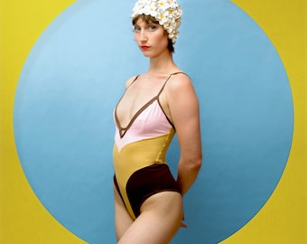 Crane Bathing Suit Swim Suit Pink Mustard Brown Swim Suit Retro Handmade 40s 50s 60s 70s  Pinup Femme Feminine Sexy Pretty Bathing Suit