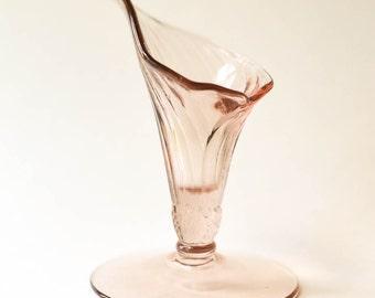 Élégant Vase de fleur de Lys rose verre Vase Vintage Art Nouveau verre Vase rose Blush