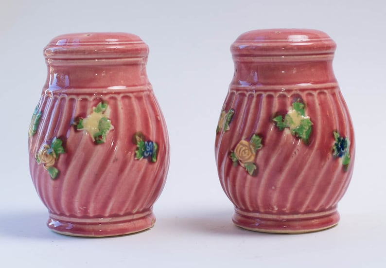Large Vintage Pink Shakers Pink Salt and Pepper Shakers