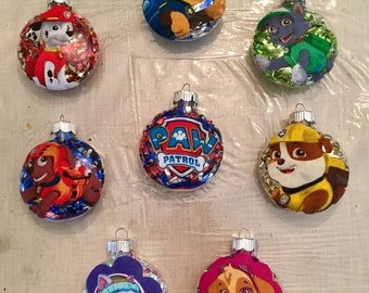 handmade paw patrol christmas ornaments your choice of character - Paw Patrol Christmas Decorations