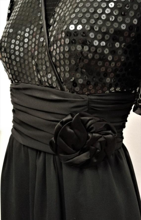 Original 1940s 40s Vintage Black Rose, sequined ch