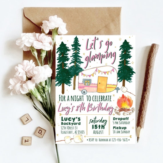 girl camping invitation camping invitation girl sleepover etsy