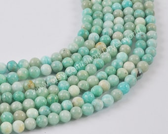 Natural Amazonite Loose Beads 6mm Round Ball Shape Drilled Natural Amazon Stone Spacer Bead Handmade Polish For Jewelry Making 1 Strand A