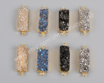 Black Agate Druzy Drusy Crystal Diamond Square 24K Electroplated Gold Edge pendants 10/% sale 10Black Earring Pair