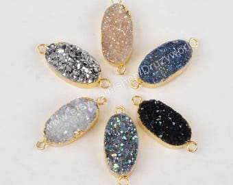 Gemstone Link Gold Plated Rainbow Electroplated Druzy Agate Gemstone Connector Gold Plated Gemstone Connector Plated Agate White Link