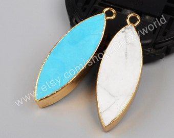 1Pcs Gold Plated Multi Color Marquise Howlite Turquoise Charm Pendant Handmade Blue White Turquoise Slice Connector Gemstone Bead CL024