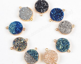 1Pcs Pretty 16mm Round Gold Plated Natural Titanium Agate Druzy Geode Connector Pendant Bail Loops Rainbow Drusy Gemstone Bead Charm G0774