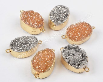 1Pcs Sparkle Oval Gold Plated Double Side Titanium Geode Quartz Druzy Station Connector Natural Agate Drusy Bead Gemstone Findings G1089
