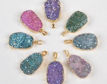 1Pcs Gold Plated Sparkle Rainbow Natural Titanium Agate Druzy Geode Pendant Beads Blue Drusy Gemstone Charm Making Jewelry Stone Craft G1050